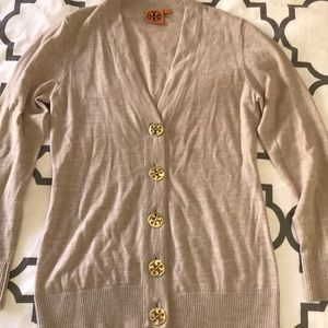 Tan Tory Burch cardigan with gold buttons M